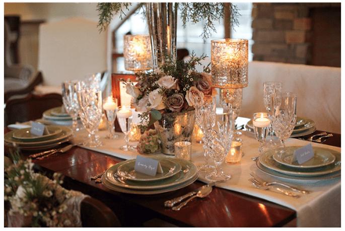 Decoración de mesas de boda inspirada en la Navidad - Foto Live View Photography