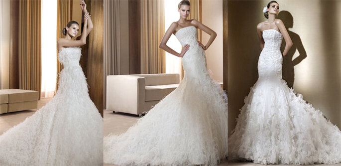 Vestidos de novia con plumas de la colección Sueños de Pronovias