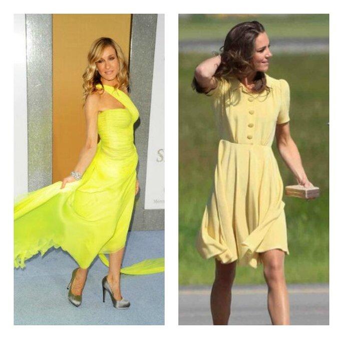 Due icone dello stile che hanno scelto il giallo. Sarah Jessica Parker ha optato per un giallo limone, Kate Middleton per un giallo pallido. Foto: youtube