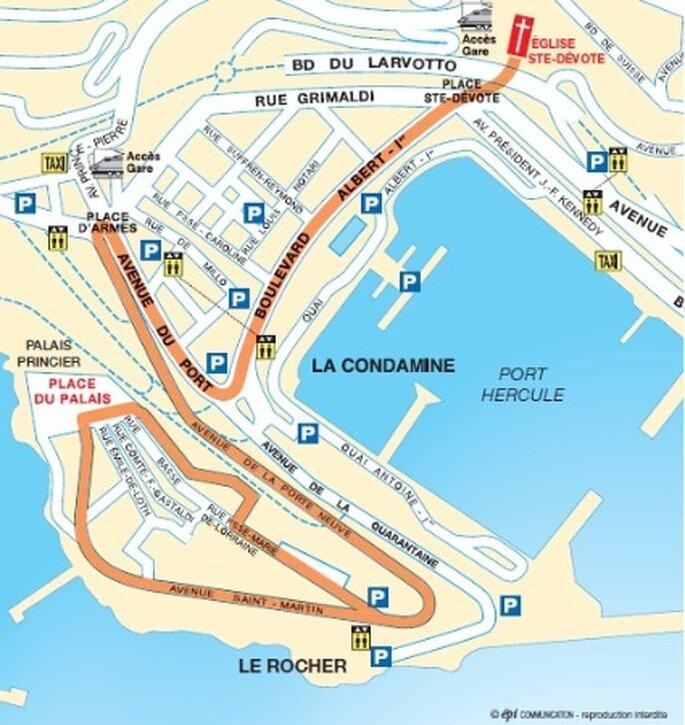 Plan cortège - Mariage Princier Monaco