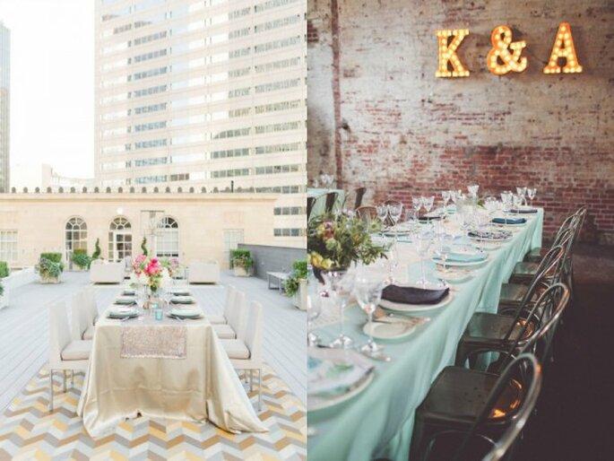 Decoración para boda urbana - Foto Allen Tsai Photography y Chris Spira Photography