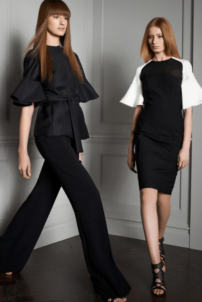 Traje en color negro y vestido de fiesta con mangas holgadas para boda 2014 - Foto Elie Saab