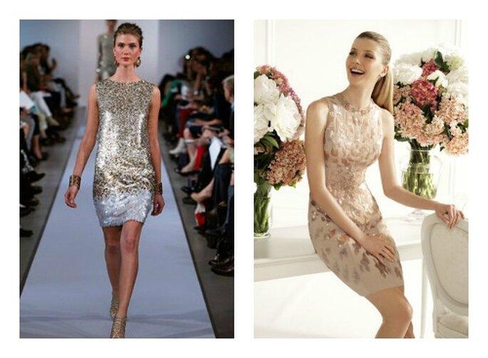 Due proposte: a sinistra un modello Oscar de la Renta e a destra Pronovias. Foto: oscardelarenta.com e pronovias.it