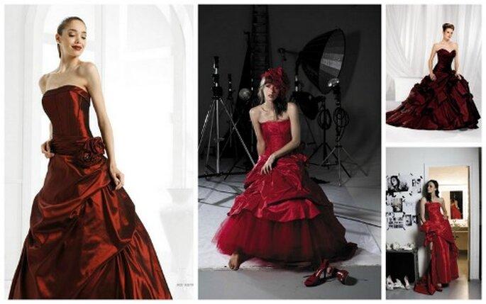 Nicole Spose e Cymbeline sono altre due griffe della moda nuziale che scelgono il rosso per alcuni pezzi unici delle loro Collezioni 2012