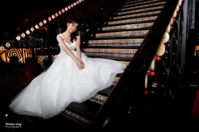 Los vestidos de novia de sesión fueron de Unielle Couture. Foto: Timmy Ling