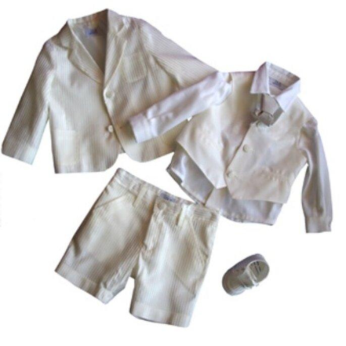Giacca,gilet e pantaloni gessati color beige. I 2 MONELLI