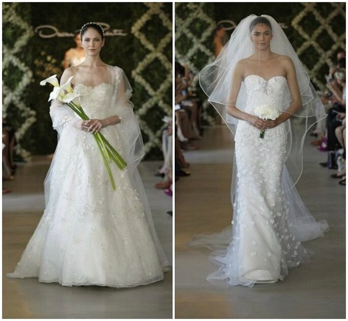 Deux modèles ultra chics d'Oscar de la Renta. Bridal Collection 2013. Foto www.oscardelarenta.com