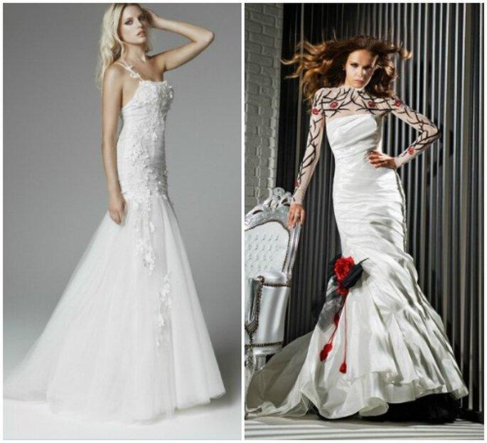 Ton sur ton oppure in contrasto, i dettagli rendono un abito da sposa unico! A sinistra Blumarine Sposa 2013, a destra Gritti Spose Collezione 2013.