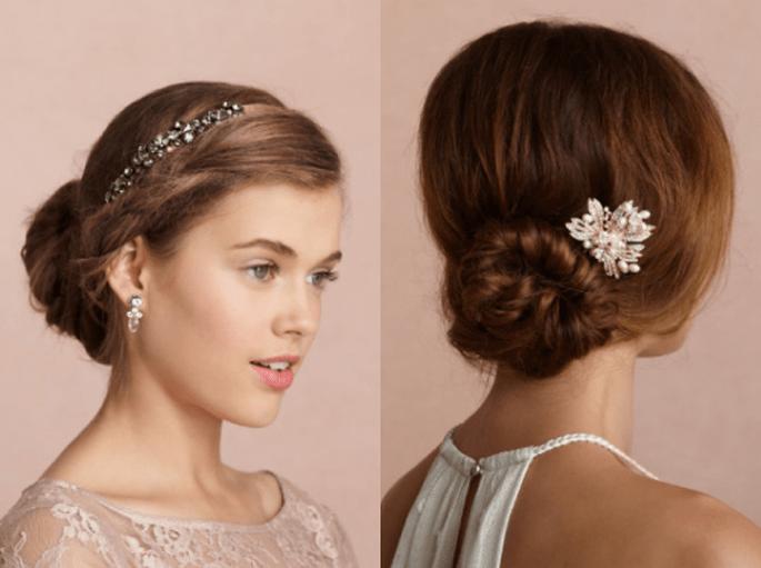 Tocados para novias con estilo vintage - Foto BHLDN