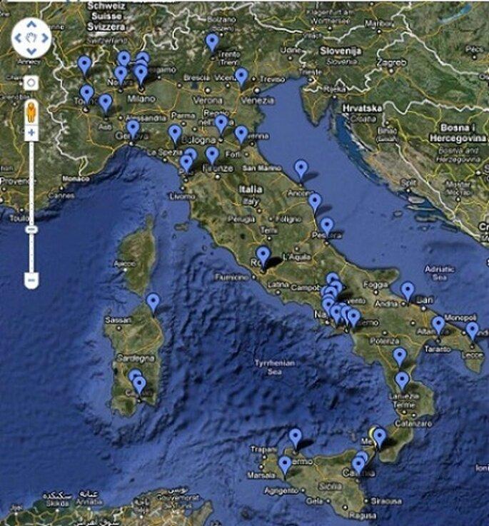 La mappa del viaggio di nozze dei futuri sposini, a zonzo per lo Stivale ©Chiara e Maurizio