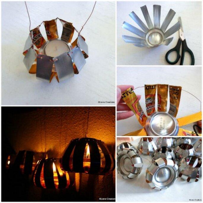 Decoración con luces en latas. Collage con fotos de LieneCreations.com