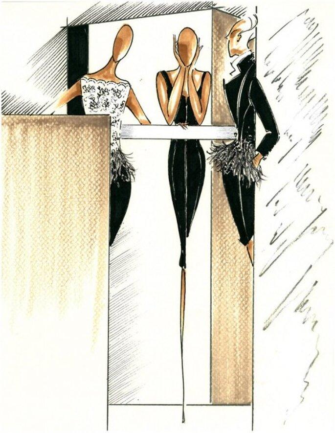 Vestidos de fiesta en color negro y efecto dominó para una boda elegante - Foto Carolina Herrera