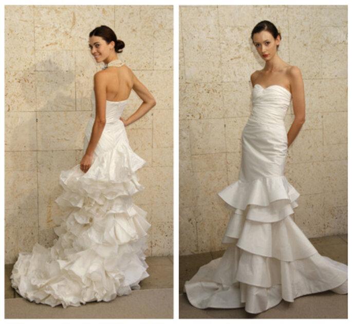 Vestido de novia de volantes de Óscar de la Renta 2012