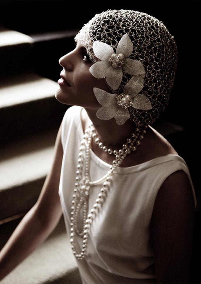 Look de novia inspirado en los años 20, de Lindsay Fleming Couture