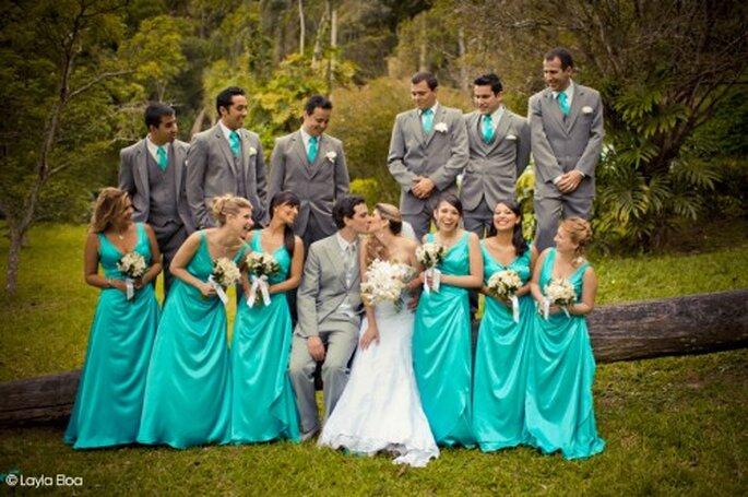 Damas de honor y Padrinos en Azul Turquesa. Fotografía Layla Eloa