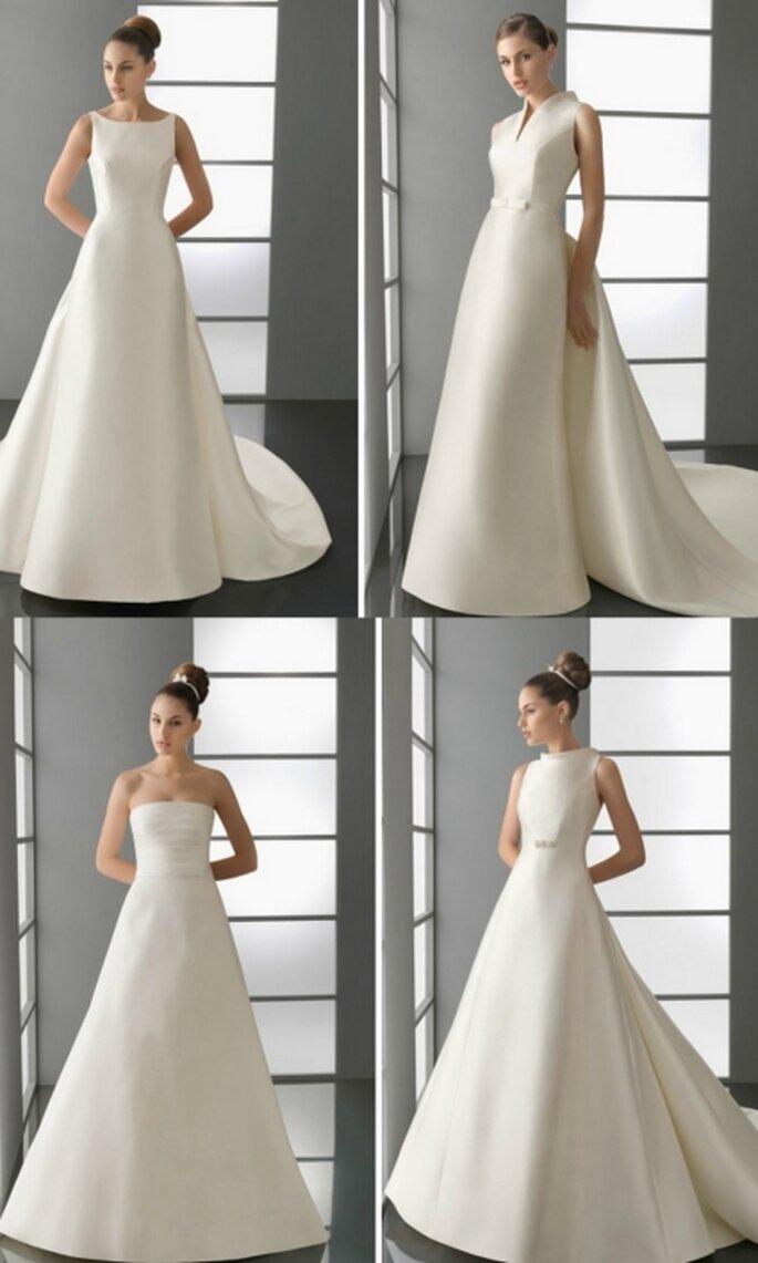 Vestido de novia 2012. Mikado y pedrería en color natural. Avance Aire Barcelona