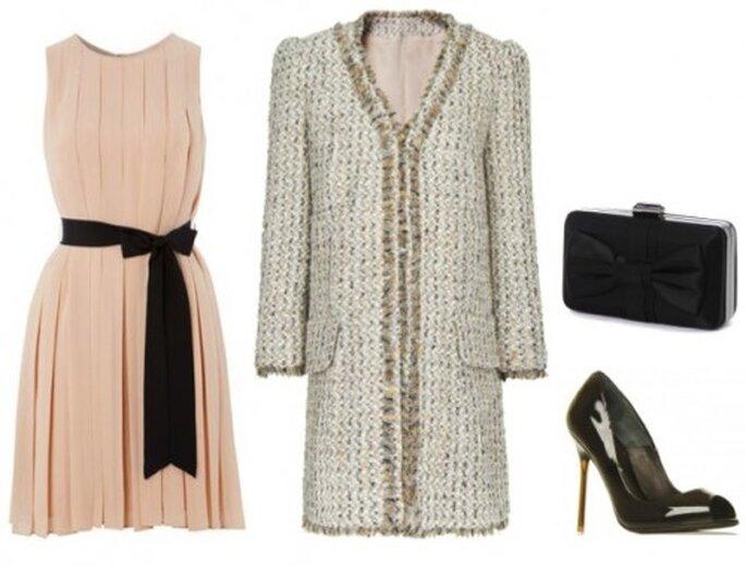 Outfit per invitate a nozze invernali romantiche. Foto: Abito e clutch Hobbs; Cappottino in lana Mango; Scarpe Kurt Geiger