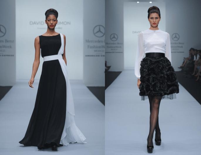 Vestido de fiesta en color blanco y negro, y falda texturizada en color negro con blusa blanca - Foto Mercedes Benz Fashion Week México
