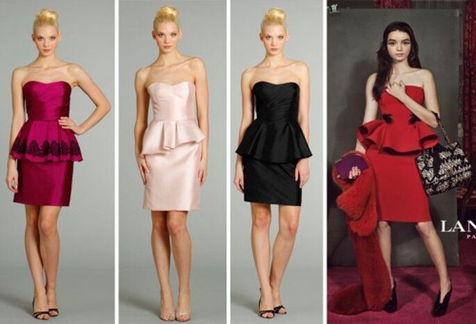 Vestidos de fiesta estilo peplum de moda en 2013 - Foto JLM Couture, Lanvin Facebook