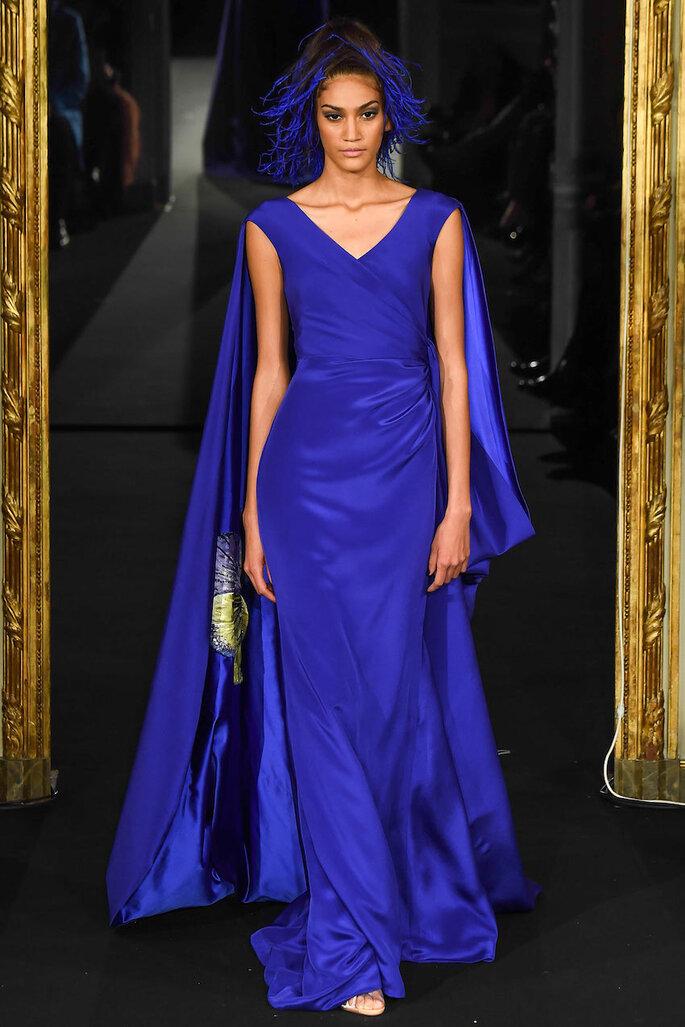 Vestidos de fiesta en color azul klein y marino - Alexis Mabille Oficial alta costura 2015