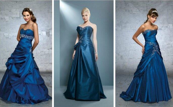 Blu: un colore inusuale ma sempre più richiesto per l'abito da sposa. Qui tre modelli di Demetrios Collezione 2012
