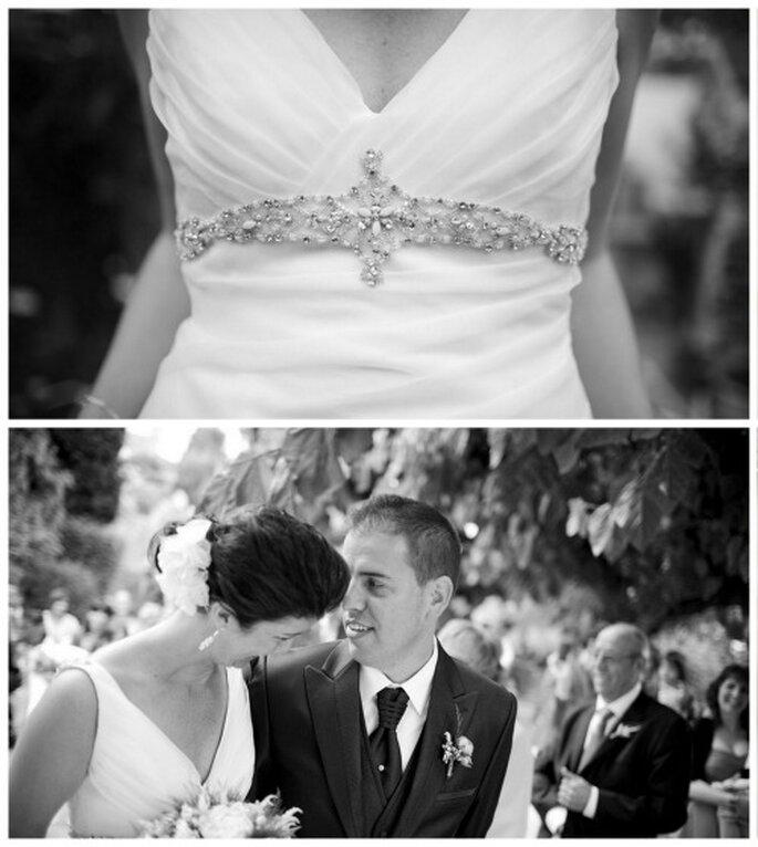 El vestido de la novia lucía detalles de pedrería en la cintura