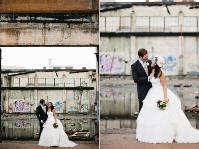 Fotografía de boda en zonas industriales. Foto Alexandra Roberts