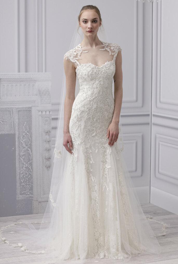 Vestido de novia 2013 cote sirena con falda de tul y tirantes de encaje