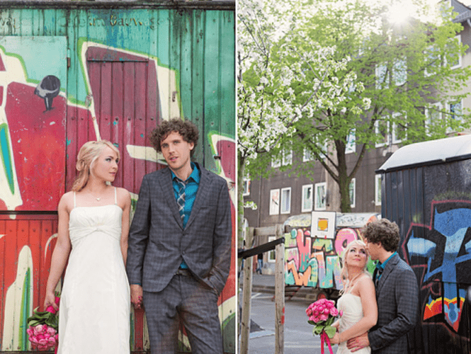 Fotografías de boda en zonas industriales. Imagen Nancy Ebert