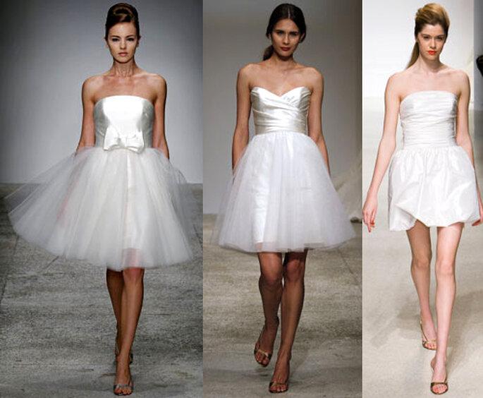 Minivestidos fashion para novias - Foto: Amsale Bridal