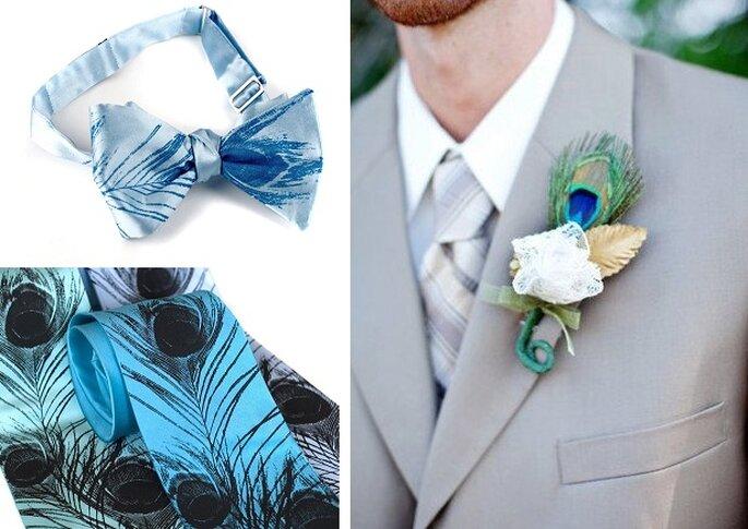 Tenue du marié - Noeud papillon et cravate : Toybreaker, broche : Hollyandivygirl sur Etsy.com