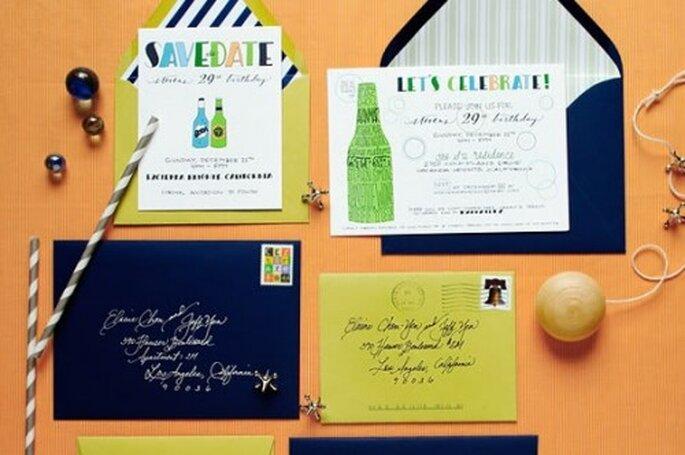 Colores, ilustraciones y diferentes tipografías para invitaciones - Foto Papermade Design