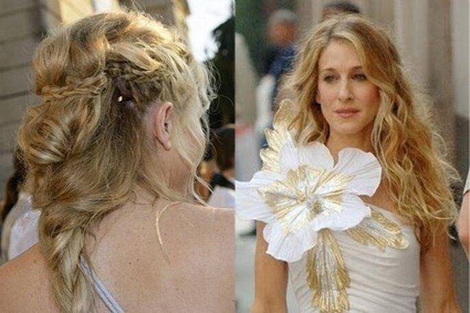 Sarah Jessica Parker et Sienna Miller. Coiffures de mariée : blonde, cheveux longs - Source : Elle