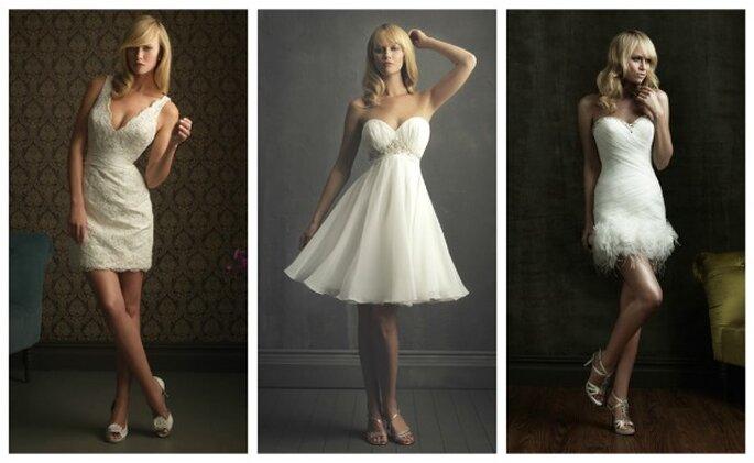 Vestidos cortos de novia. Foto: Allure Bridals 2012