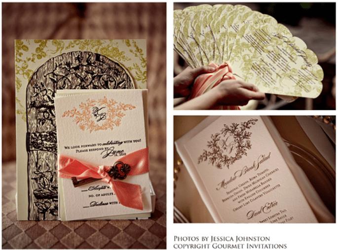 Ideas de la papelería que puedes usar para tu boda. Foto Gourmet Invitations
