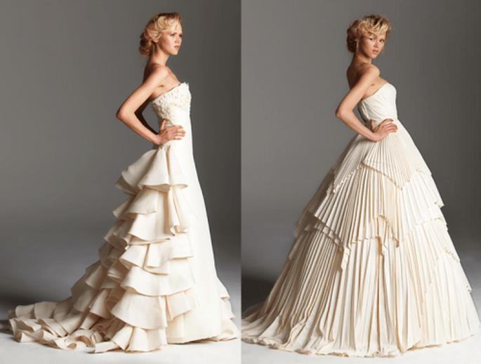 Vestidos de novia largos con volúmenes y plisados en la falda - Foto Rafael Cennamo
