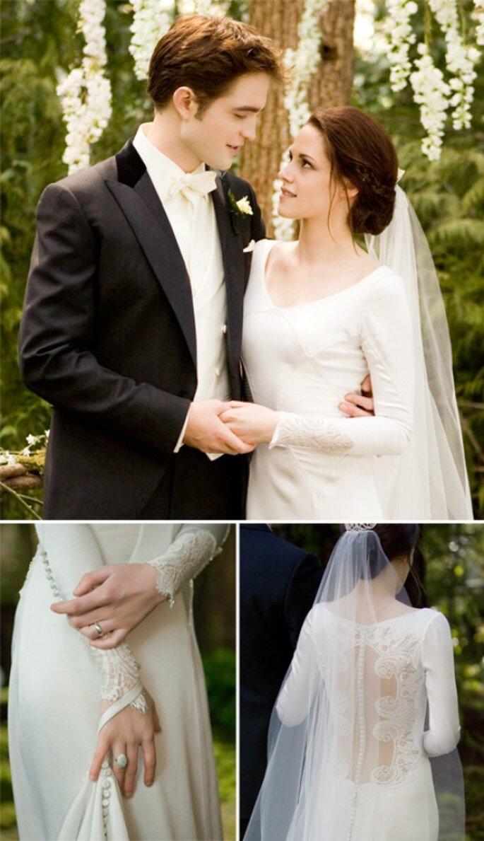 """Bella Swan nel giorno del suo matrimonio col vampiro Edward in """"Breaking Dawn"""" indossa un abito firmato Carolina Herrera"""