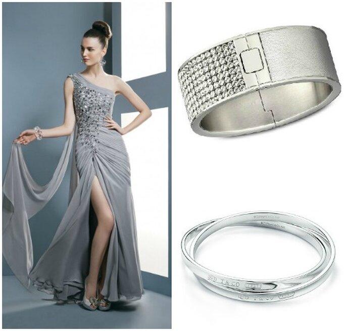 Abito argento con cristalli sul corpetto Demetrios Evening, in alto bracciale Swarovsky, sotto bracciali intrecciati Tiffany & Co.
