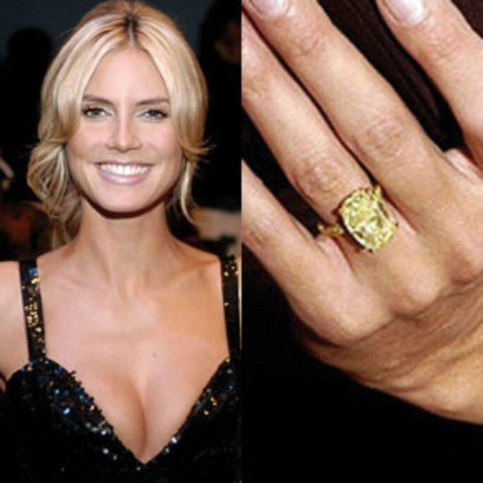 Anello con diamante giallo per la modella Heidi Klum. Foto www.gossippando.it