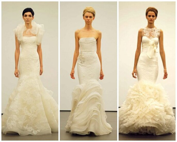 Tres modelos con volumen al final del vestido. Foto: Vera Wang.