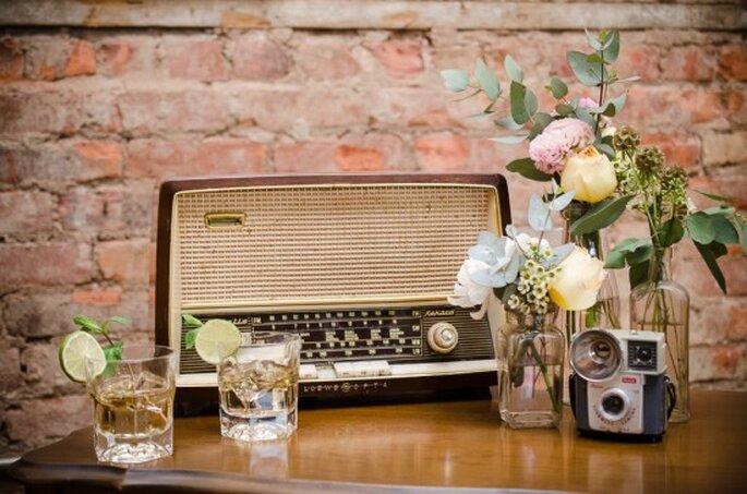 Decoración de boda en vintage estilizado - Foto Alan C Lee Photography
