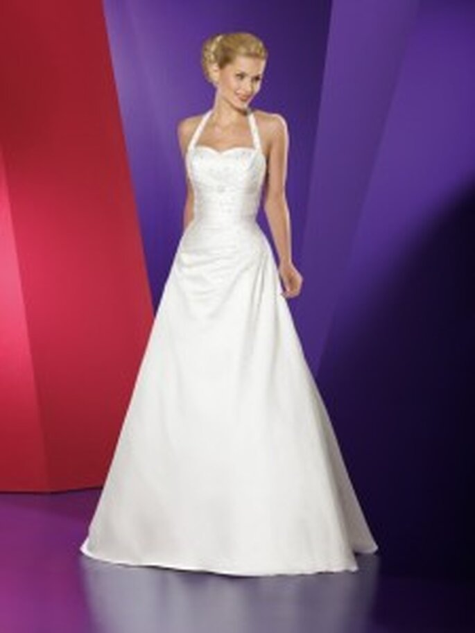 Lohrengel 2010 Pearl - Strukturiertes Neckholderkleid mit Herzausschnitt in A-Linie, Satin Duchess, Oberteil mit Kristallen besetzt