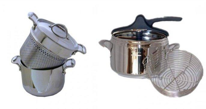 A sinistra cuocipasta Accademy Fiveply e a destra pentola a pressione Domina lt.5. Foto: http://www.pastorinocasa.com/it
