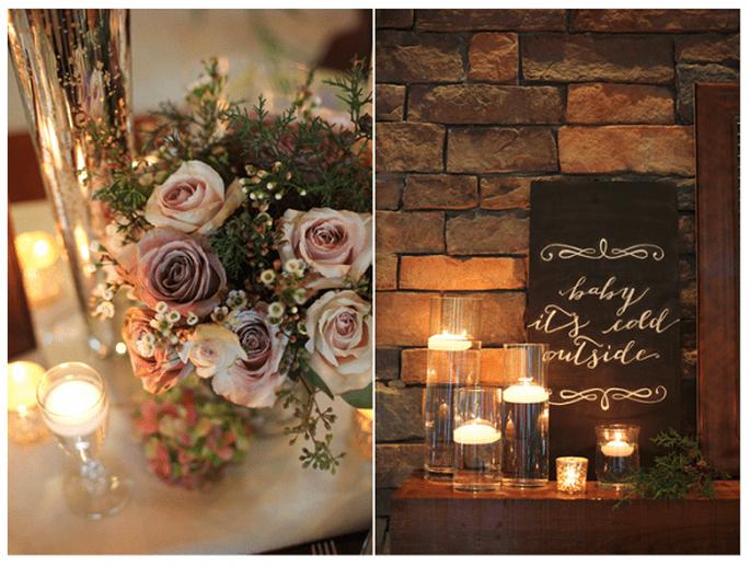 Decoración de mesas de boda inspirada en la Navidad con flores y velas - Foto Live View Photography
