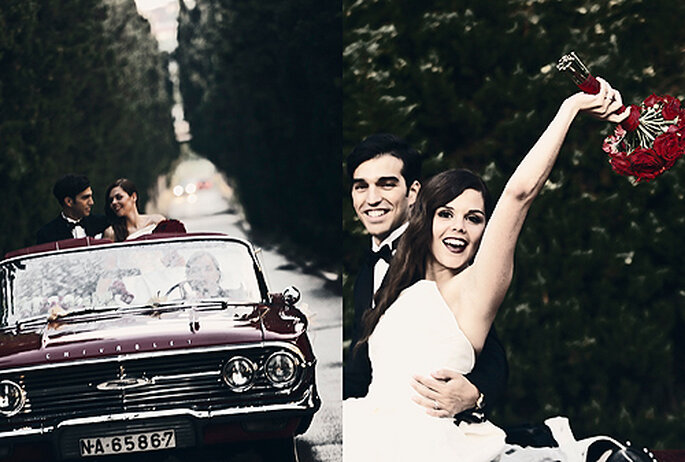 El Chevrolet rojo fue un invitado más en el álbum de boda. Foto: Punto de Vista