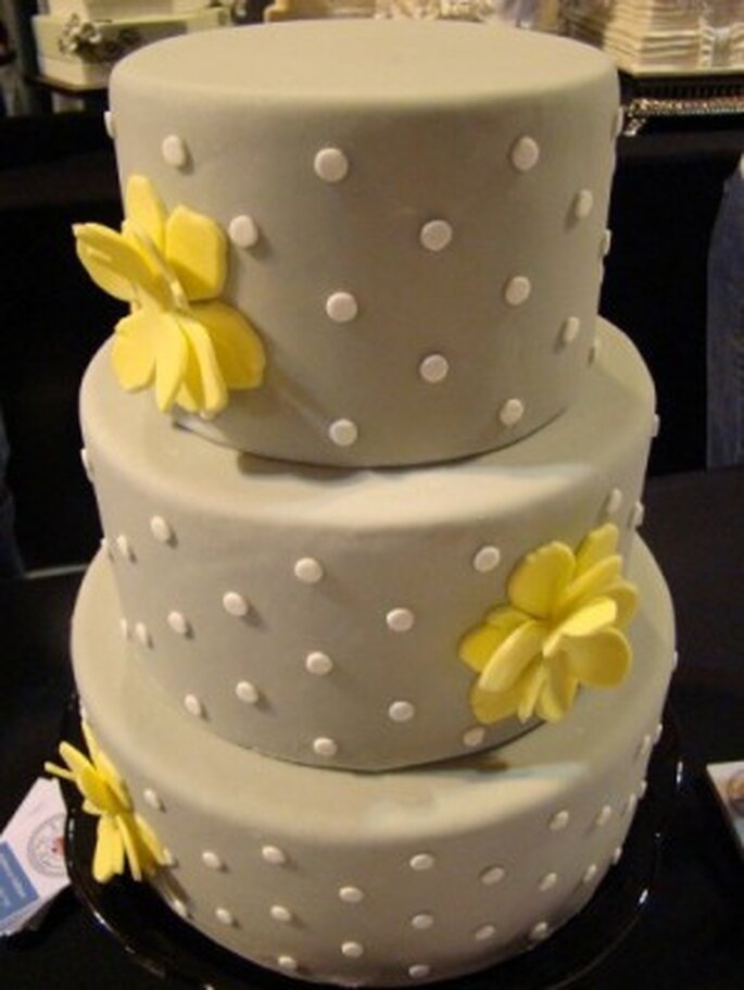 Gray wedding cake with yellow accents by Sweet Cakes by Rebecca