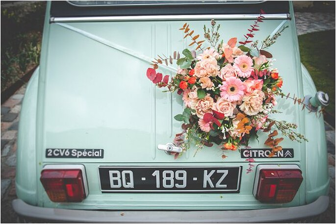 flores en coche
