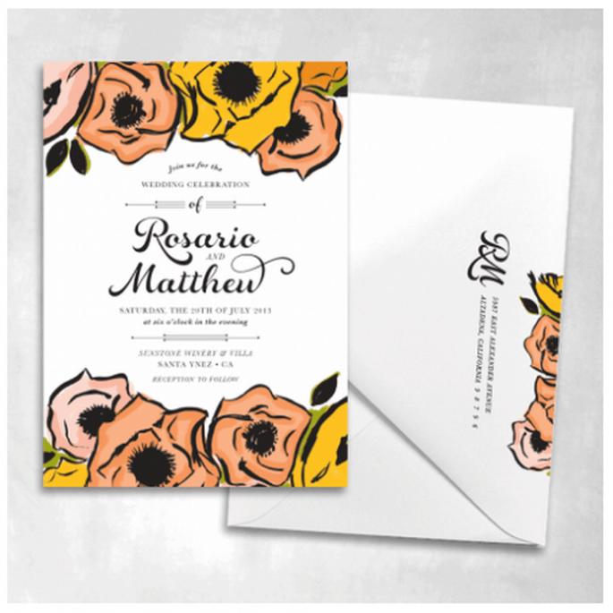 Elige ilustraciones de flores en colores vivos para tus invitaciones - Foto Smitten On Paper