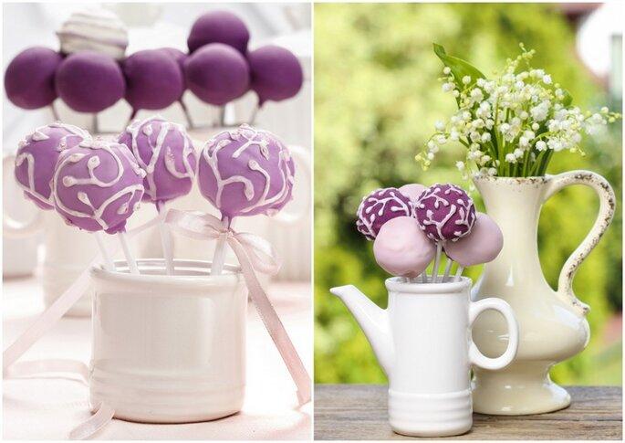 Cake pops para bodas en diferentes tonos de violeta. Foto vía Shutterstock