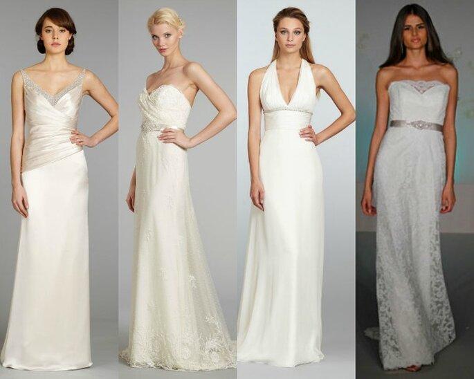 Vestidos de novia de línea recta de Alvina Valenta y Tara Keely - Fotos JLM Couture